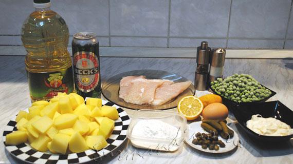 Fish and Chips - Peste pane cu bere, cartofi, mazare si sos tartar