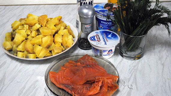 Salata de somon afumat, cartofi si iaurt / Smoked salmon salad