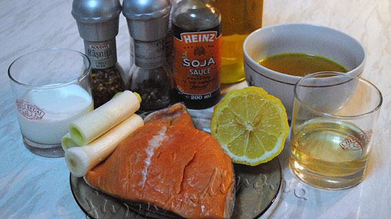 Somon cu sos de praz si vin / Salmon with leek and wine sauce