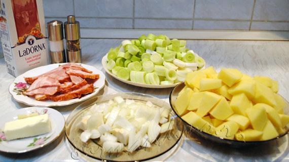 Supa crema de praz, cartofi si kaizer / leek, bacon and potato cream soup