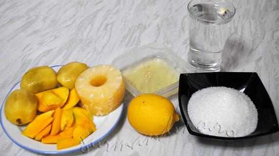 Sorbet tropical / Inghetata fara lapte cu kiwi, mango si ananas