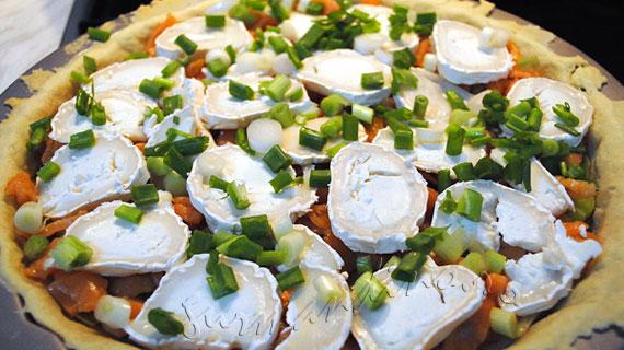 Quiche (tarta) cu somon afumat, praz si branza de capra