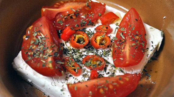 Bougourdi - aperitiv cu branza feta, la cuptor