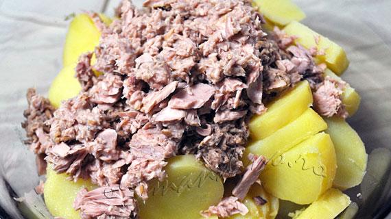 Salata de toamna cu ardei copti, ton si cartofi