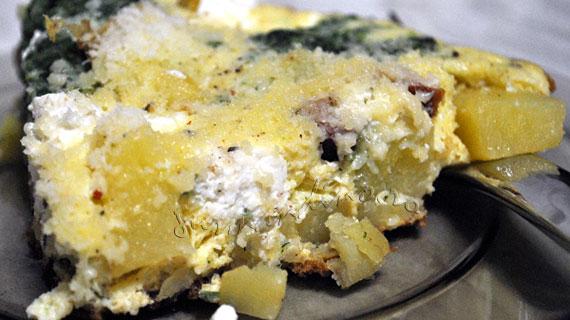 Frittata cu spanac, cartofi, ricotta si kaizer