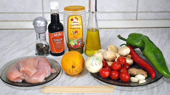 Frigarui picante de pui cu portocala si legume