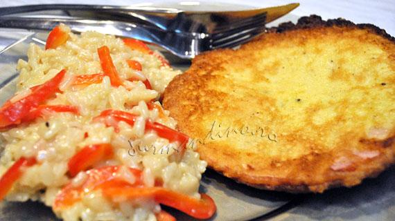 Piccata de jambon si risotto cu ardei gras
