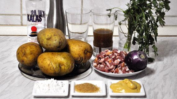 Salata de cartofi cu afumatura si sos de mustar