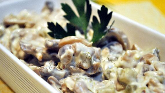 Salata de ciuperci cu maioneza si usturoi