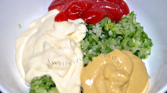 Creveti cu 3 sosuri: mango-lamaie, rosii-hrean & Remoulade cu telina