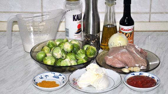 Gratin de varza de Bruxelles cu porc, sos de soia, curry si mascarpone