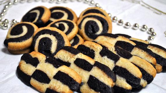 Biscuiti spirala si tabla de sah, cu vanilie, cacao si rom