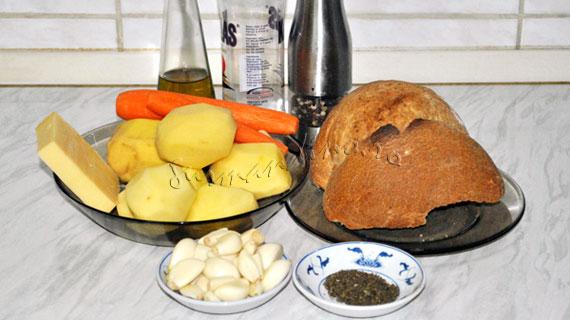 Supa cremoasa de usturoi cu cartofi si branza Gruyere