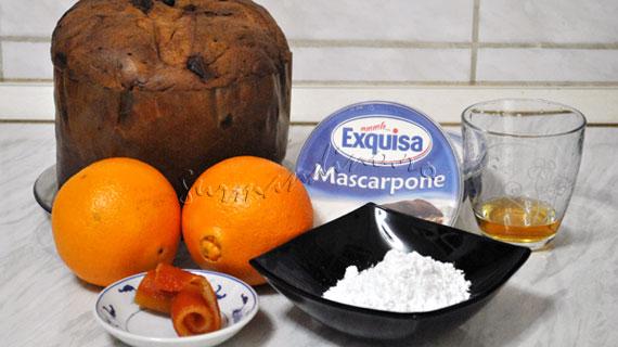 Tort rapid din cozonac panettone cu mascarpone si portocala