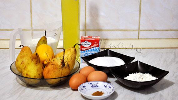 Pere cu limoncello si crema de lapte cu lamaie si scortisoara