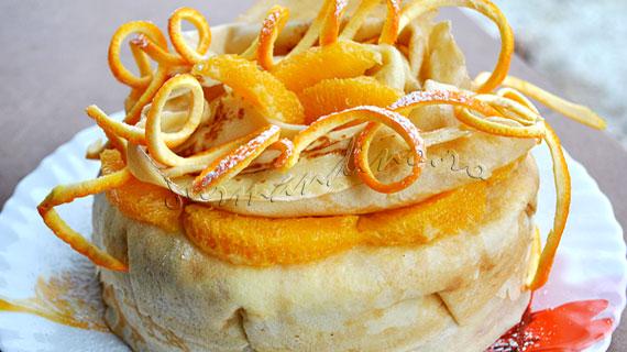 Tort din clatite cu crema de branza si portocale