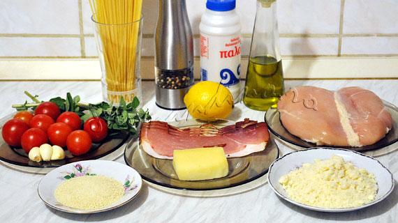 Involtini de pui cu prosciutto si mozzarella, cu sos de lamaie si paste cu busuioc si usturoi