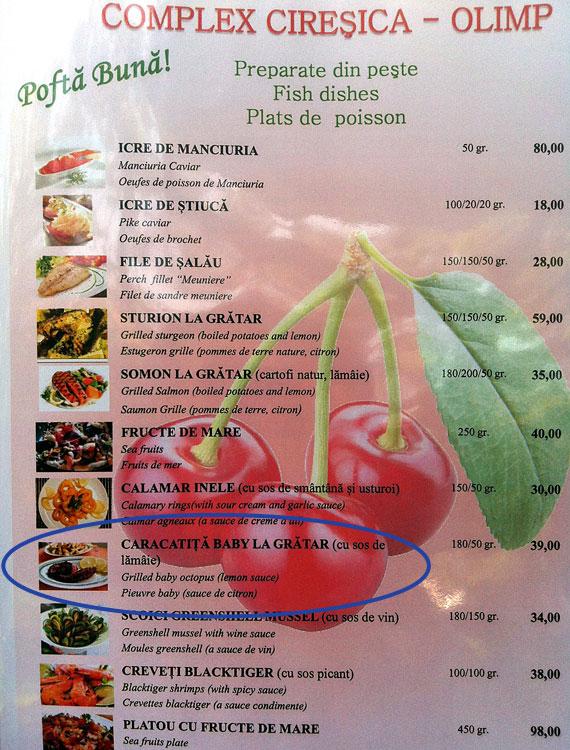 Meniu restaurant Ciresica