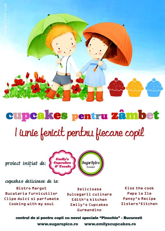 Afis cupcakes pentru zambet de 1 iunie