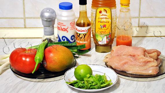 Frigarui de pui cu miere si sos de soia & salsa de mango si rosii