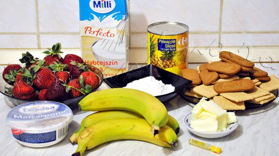 Prajitura Banana Split cu banane, ananas, capsune, mascarpone si frisca