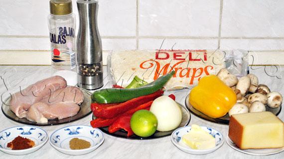 Fajitas de pui cu legume si branza cheddar