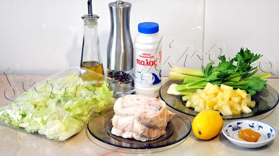 Reteta de salata rapida cu pui afumat, ananas si telina, cu dressing cu miere si lamaie