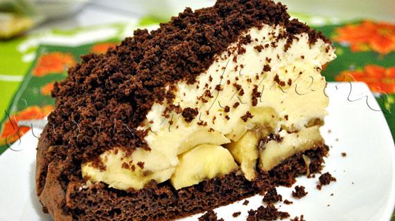 Reteta Prajitura Musuroi de cartita - cu banane, blat cu cacao, crema diplomat si frisca