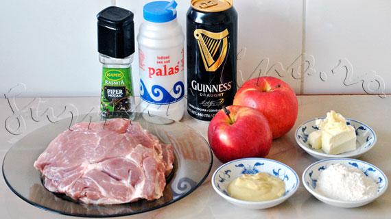 Reteta de escalop de porc cu mere, bere irlandeza Guinness si mustar de Dijon