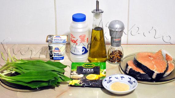 Reteta de somon la gratar cu sos de iaurt si leurda