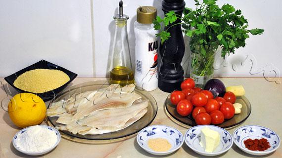 Reteta de peste (cambula) pane & garnitura de couscous cu rosii si ghimbir