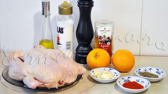 Reteta de pui intreg la cuptor cu portocala, usturoi, sirop de agave si ierburi de Provence