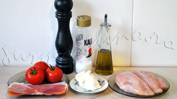 Reteta de friptura - Piept de pui umplut cu crema de branza si invelit prosciutto