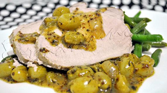 Reteta de friptura - Muschi de porc cu sos de struguri si mustar