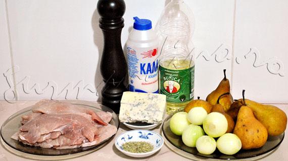 Reteta de friptura la cuptor - cotlete de porc cu pere si branza albastra