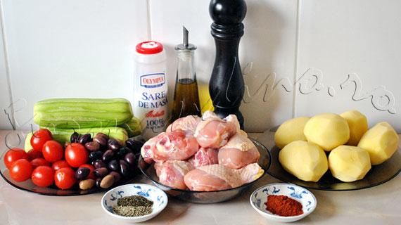 Reteta de friptura la cuptor cu garnitura - Pui cu cartofi, dovlecei, rosii si masline