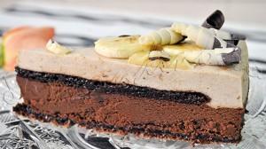 Reteta tort duo mousse de ciocolata neagra si banana